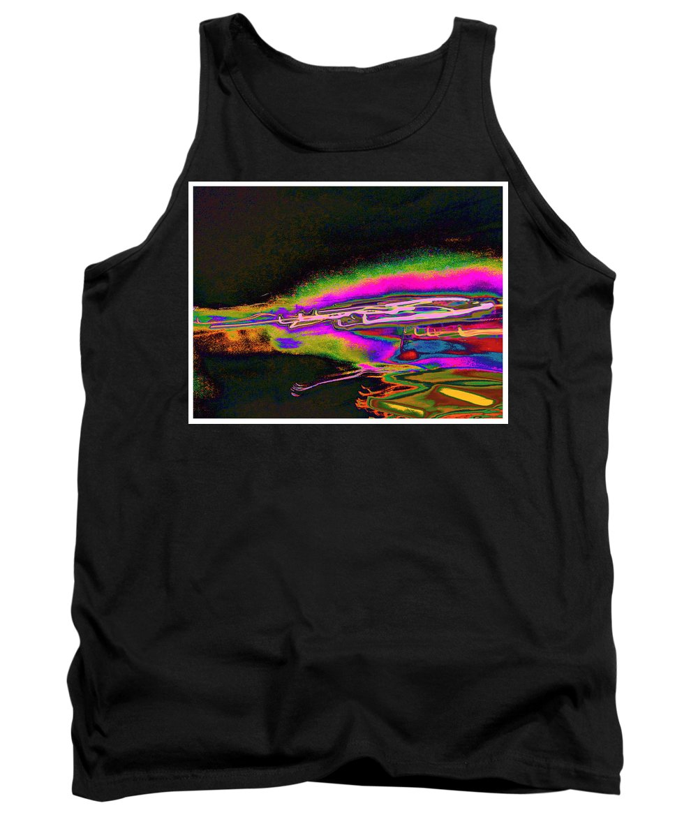 Bright Colorful Streak Of Energy Captured In A Photograph And Digitally Manipulated Into A Colorful Contemporary Artwork .modern Tank Top featuring the digital art Zzzzzzzzzzt One by Expressionistart studio Priscilla Batzell