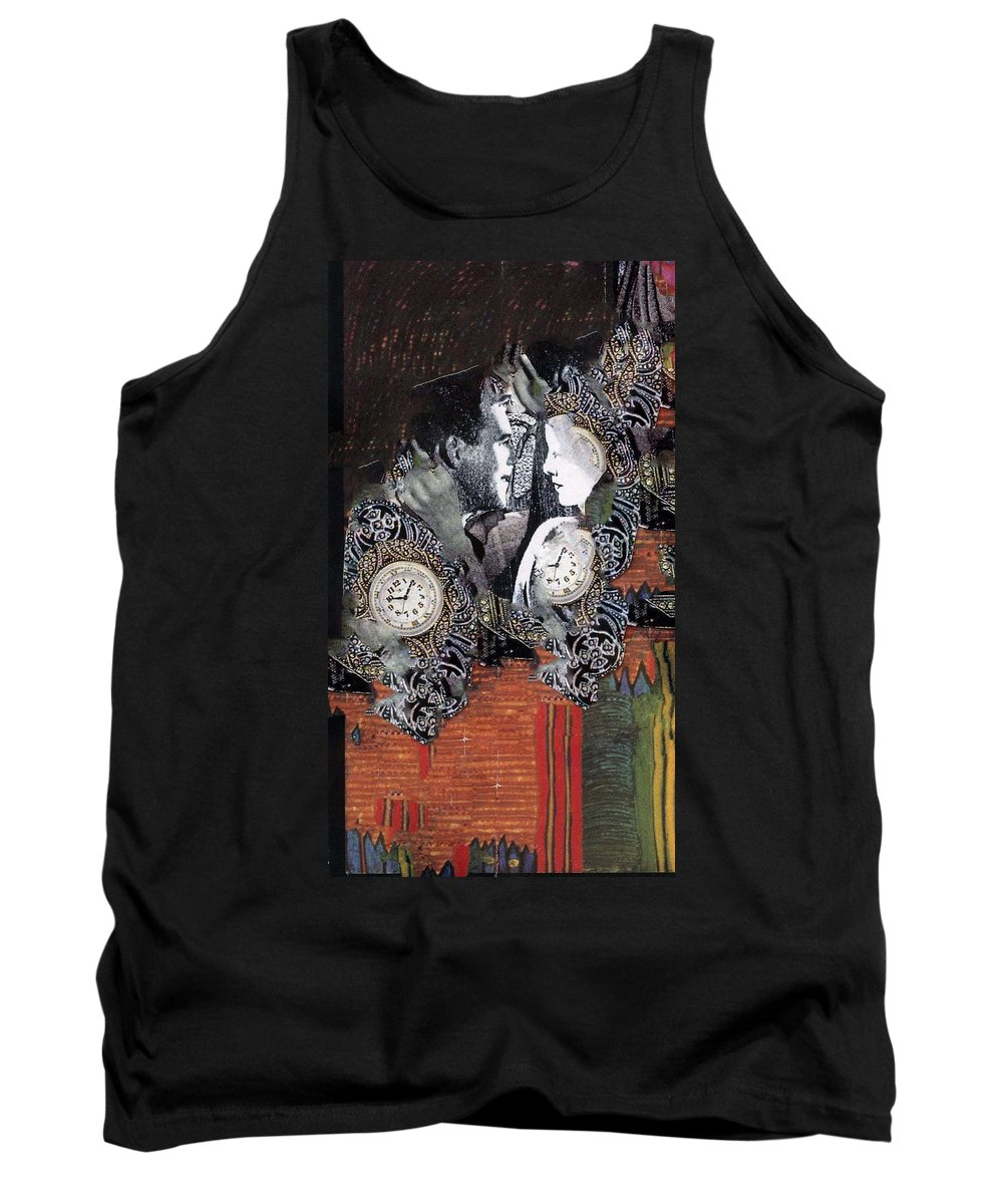 Engagement. A Mixed Media Art Collage Using Both B&w And Color. Tank Top featuring the mixed media Engagement by Patsy Stanley