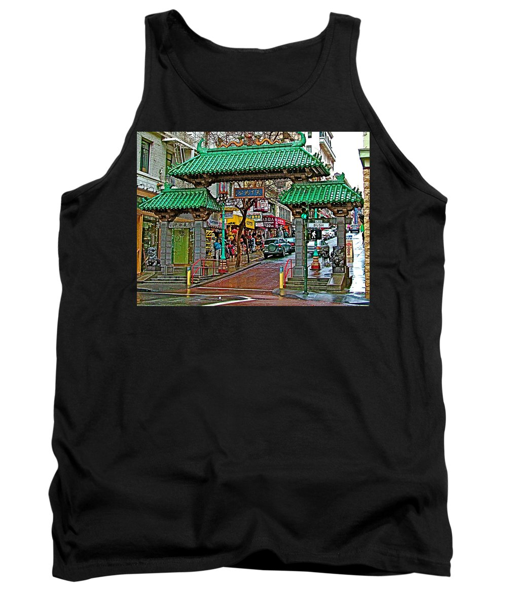 Entry Gate To Chinatown In San Francisco Tank Top featuring the photograph Entry Gate To Chinatown In San Francisco-california by Ruth Hager