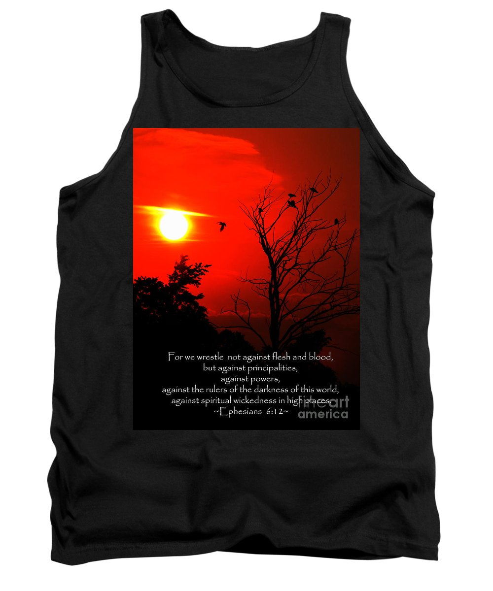 Jesus Christ Tank Top featuring the photograph Ephesians Six Twelve by Ron Tackett