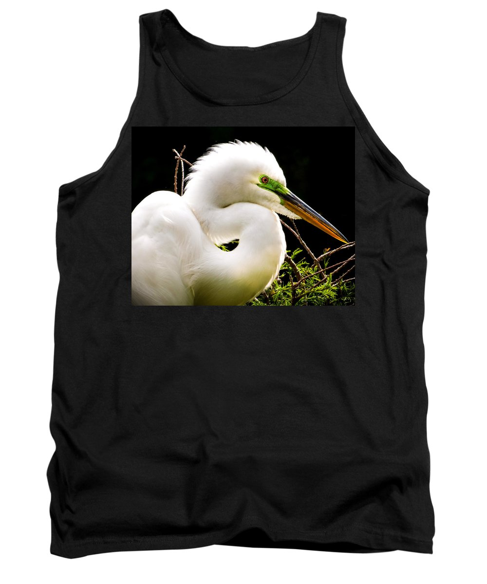 White Egrets Tank Top featuring the photograph Essence Of Beauty by Karen Wiles
