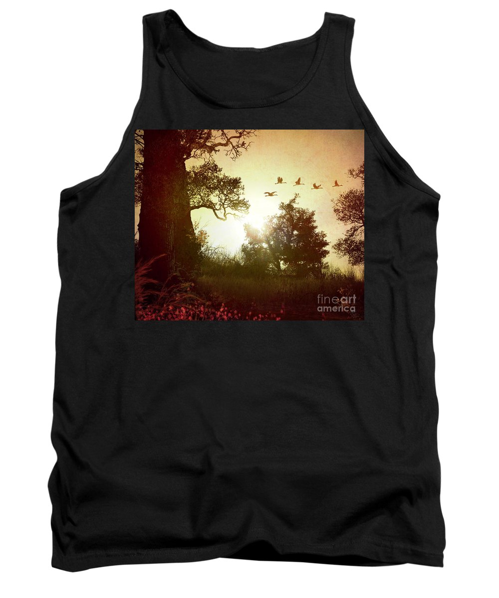 Digital Tank Top featuring the photograph Evening Flying Geese by Peter Awax