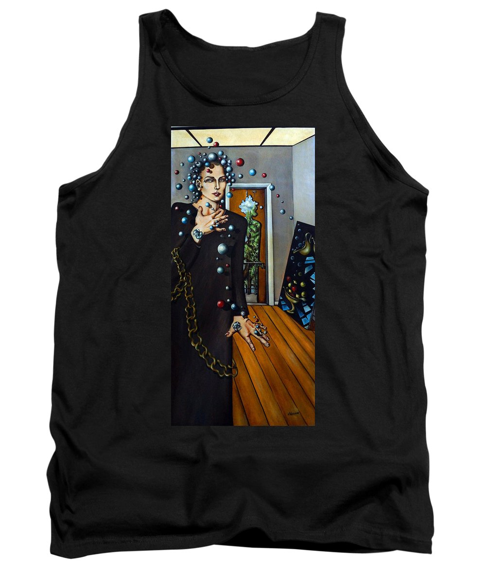 Surreal Tank Top featuring the painting Existential Thought by Valerie Vescovi