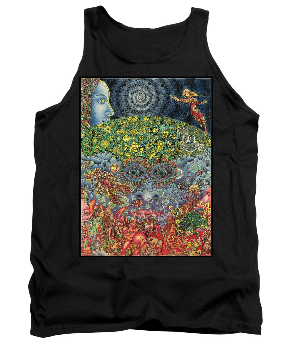 Psychedelic Tank Top featuring the drawing Eyes Of The Mind by Jeff Hopp