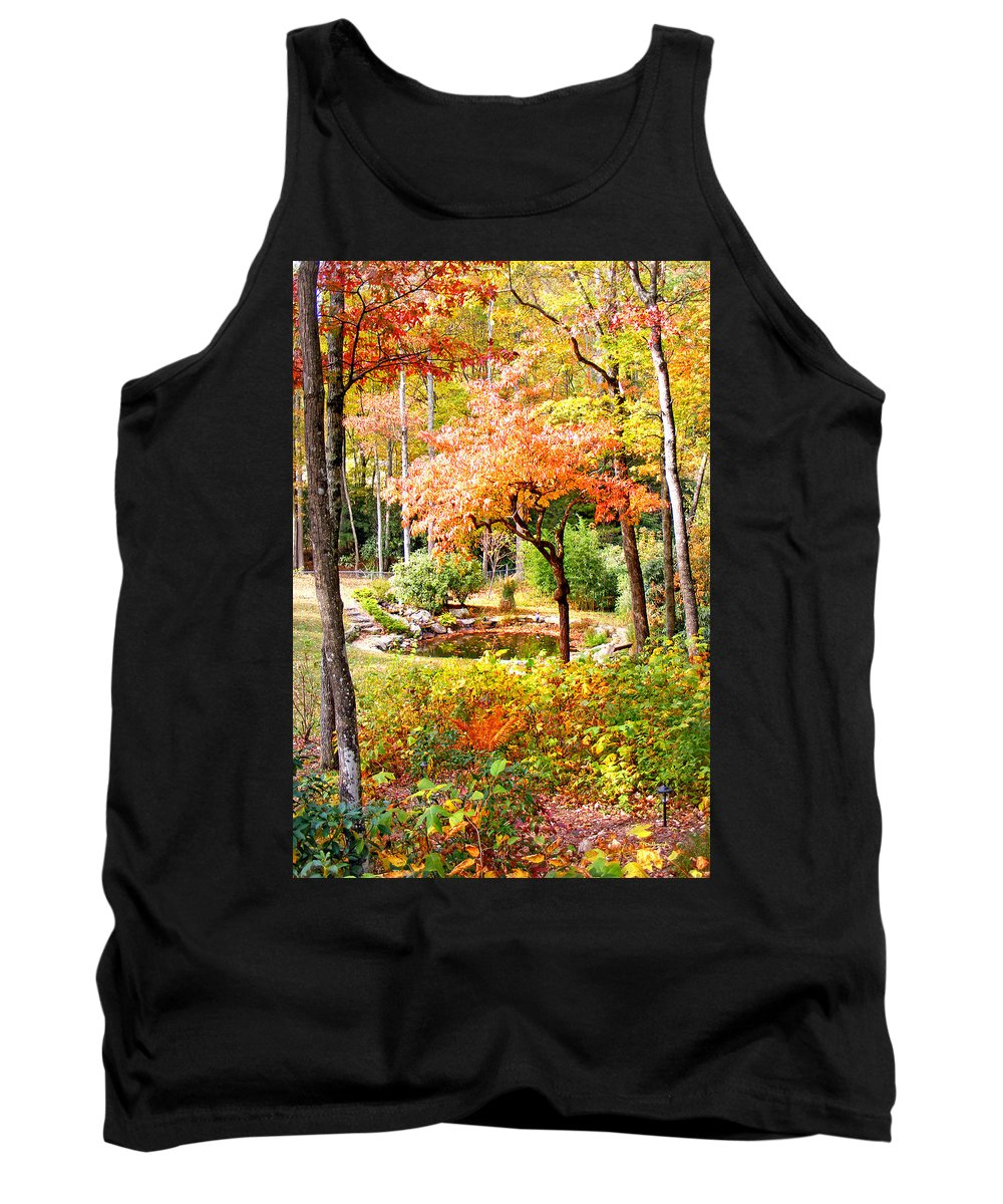 Duane Mccullough Tank Top featuring the photograph Fall Folage And Pond by Duane McCullough