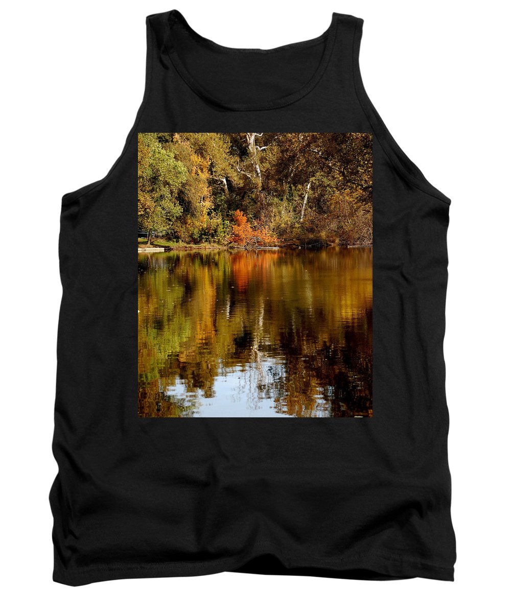 Fall Colors Leaves Water One Mile Park Bidwell Chico Ca Tank Top featuring the photograph Fall Reflections by Holly Blunkall