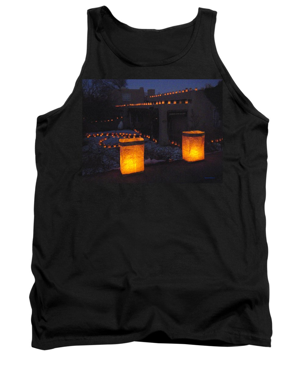 Farolitos Tank Top featuring the photograph Farolitos Or Luminaria On Wall by Tamara Kulish