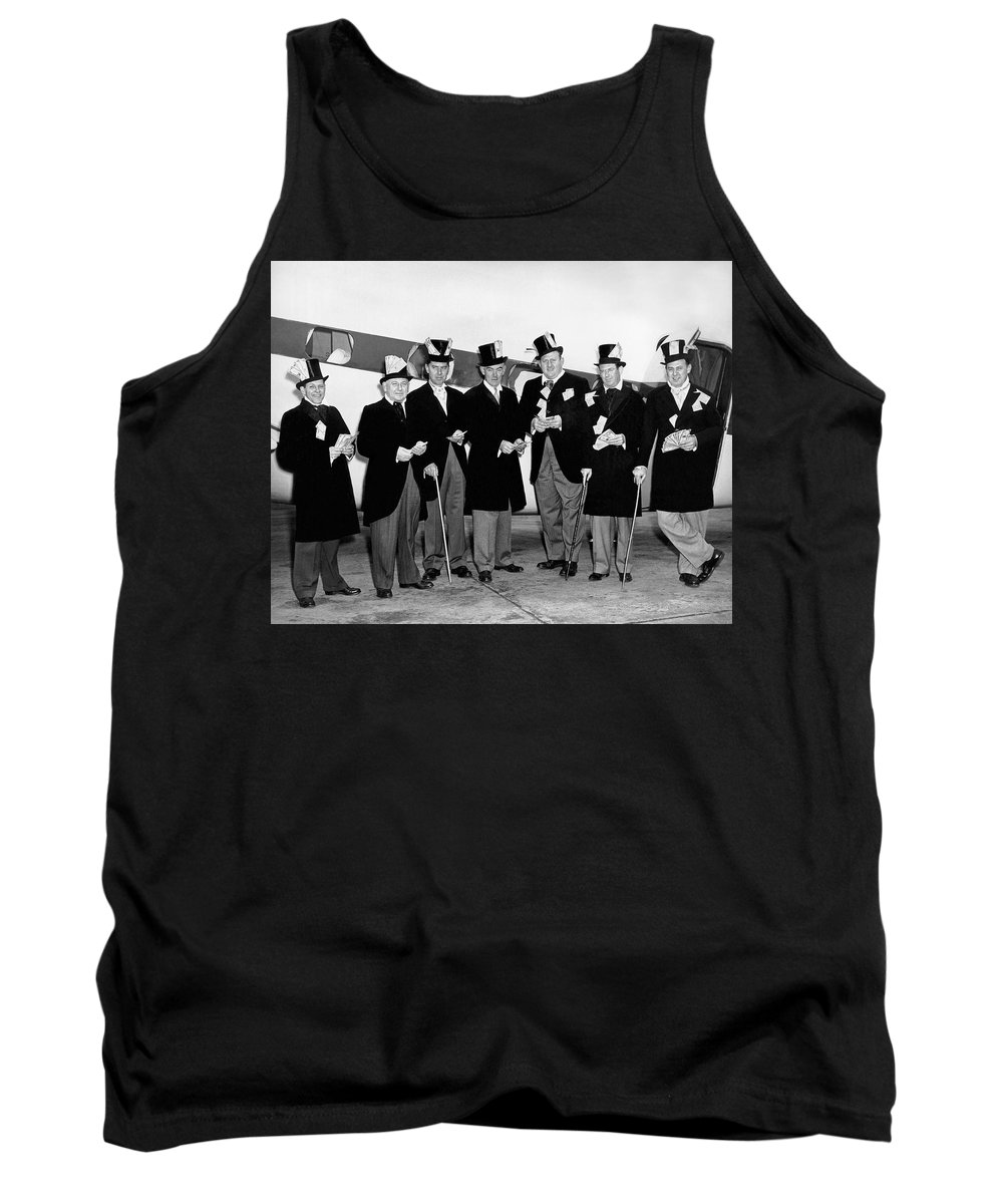 1950's Tank Top featuring the photograph Fat Cats In Tuxedos by Underwood Archives