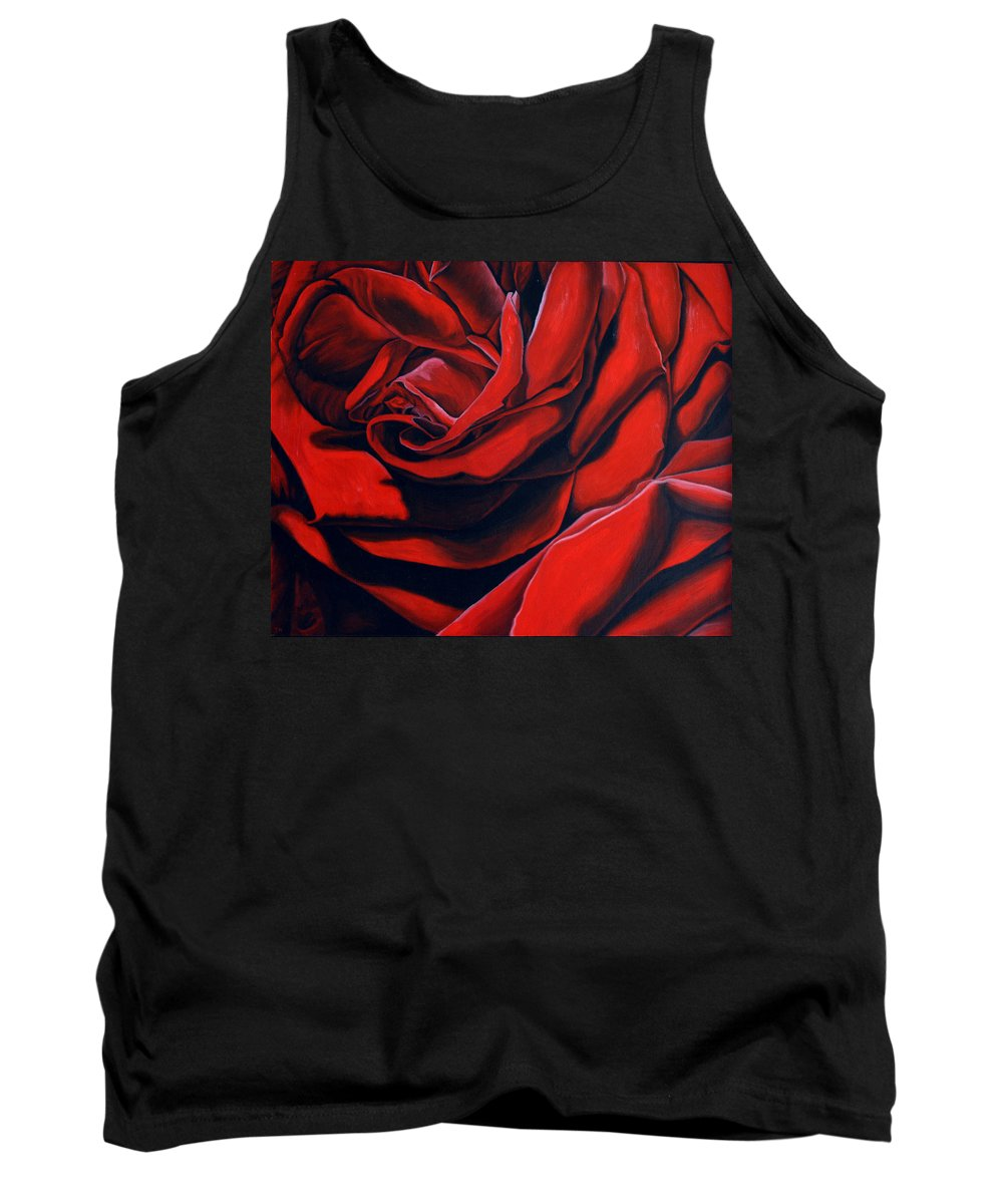 Rose Tank Top featuring the painting February Rose by Thu Nguyen