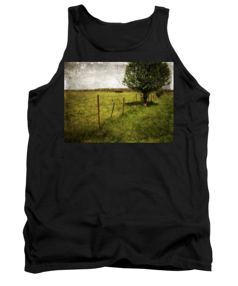 Landscape Tank Top featuring the photograph Fence With Tree by Cynthia Lassiter