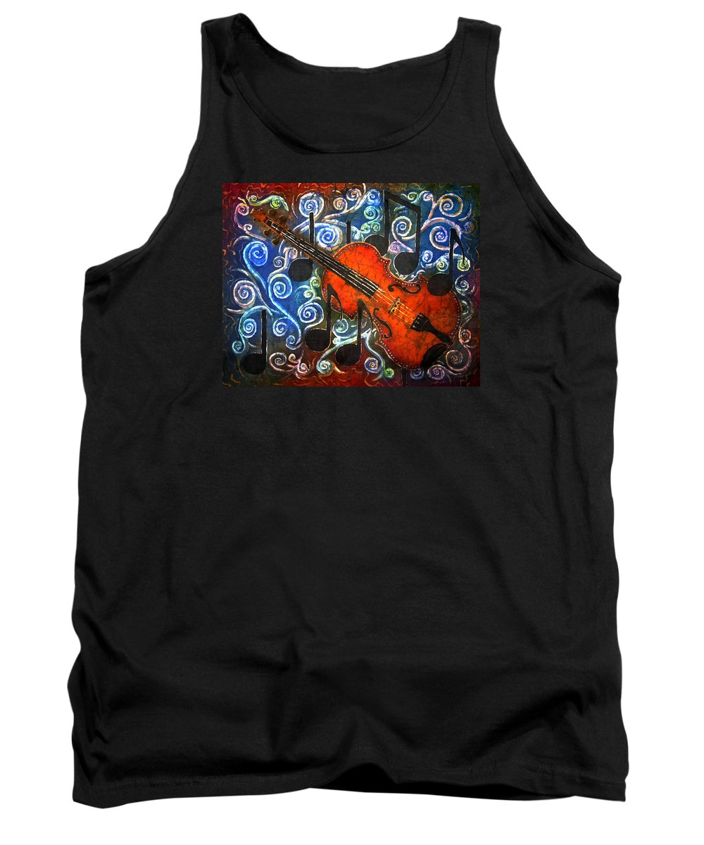 Fiddle Tank Top featuring the painting Fiddle - Violin by Sue Duda