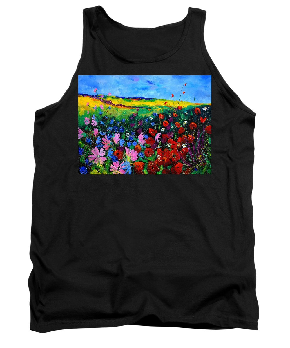 Poppies Tank Top featuring the painting Field Flowers by Pol Ledent