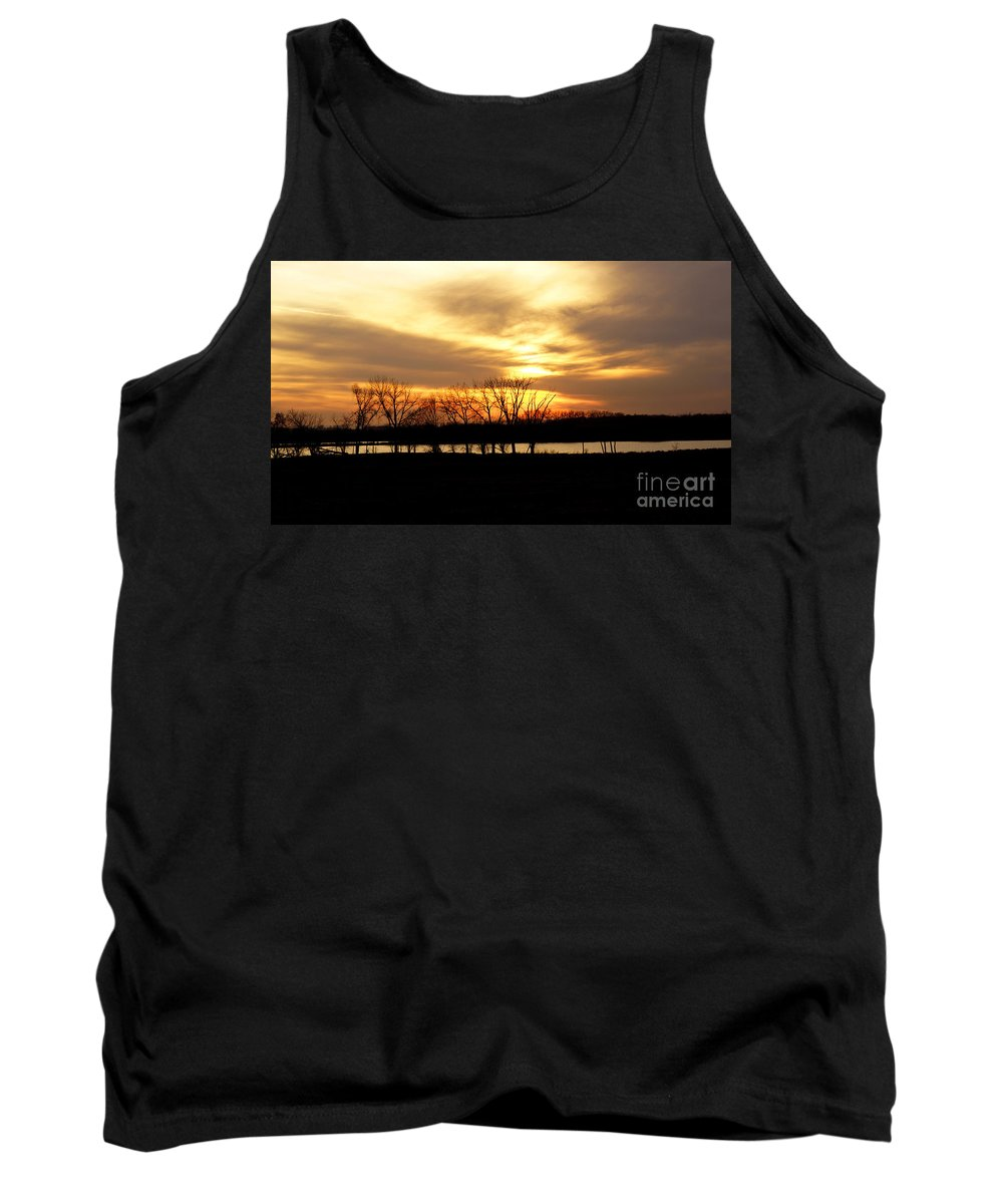 Sunset Tank Top featuring the photograph Fiery Sunset by Lori Tordsen
