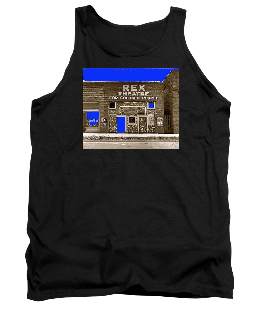 Film Homage The New Adventures Of Tarzan 1935 1935/1937-2010 Rex Theater Leland Mississippi Tank Top featuring the photograph Film Homage The New Adventures Of Tarzan 1935 1935/1937-2010 Rex Theater Leland Mississippi by David Lee Guss