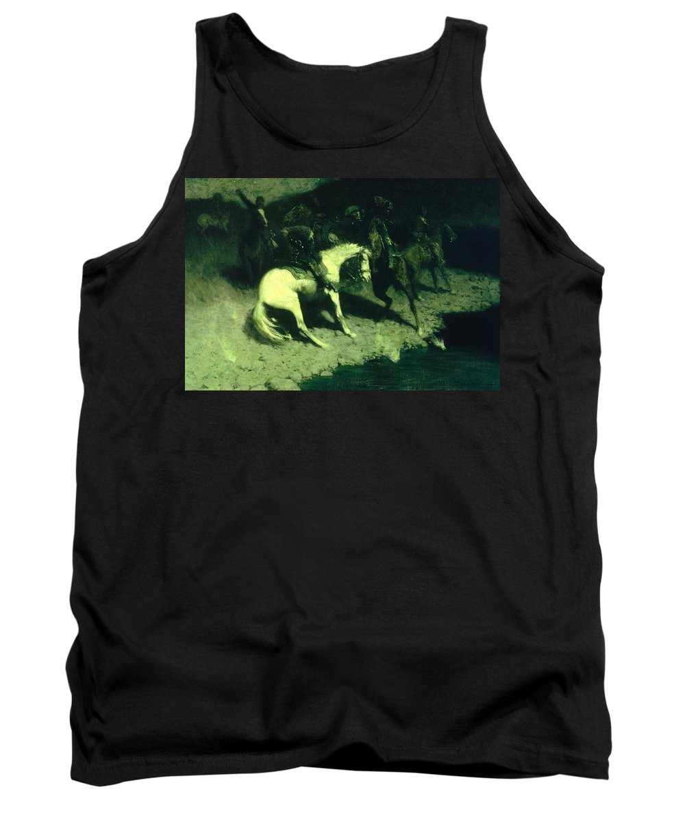 Frederic Remington Tank Top featuring the painting Fired On by Frederic Remington