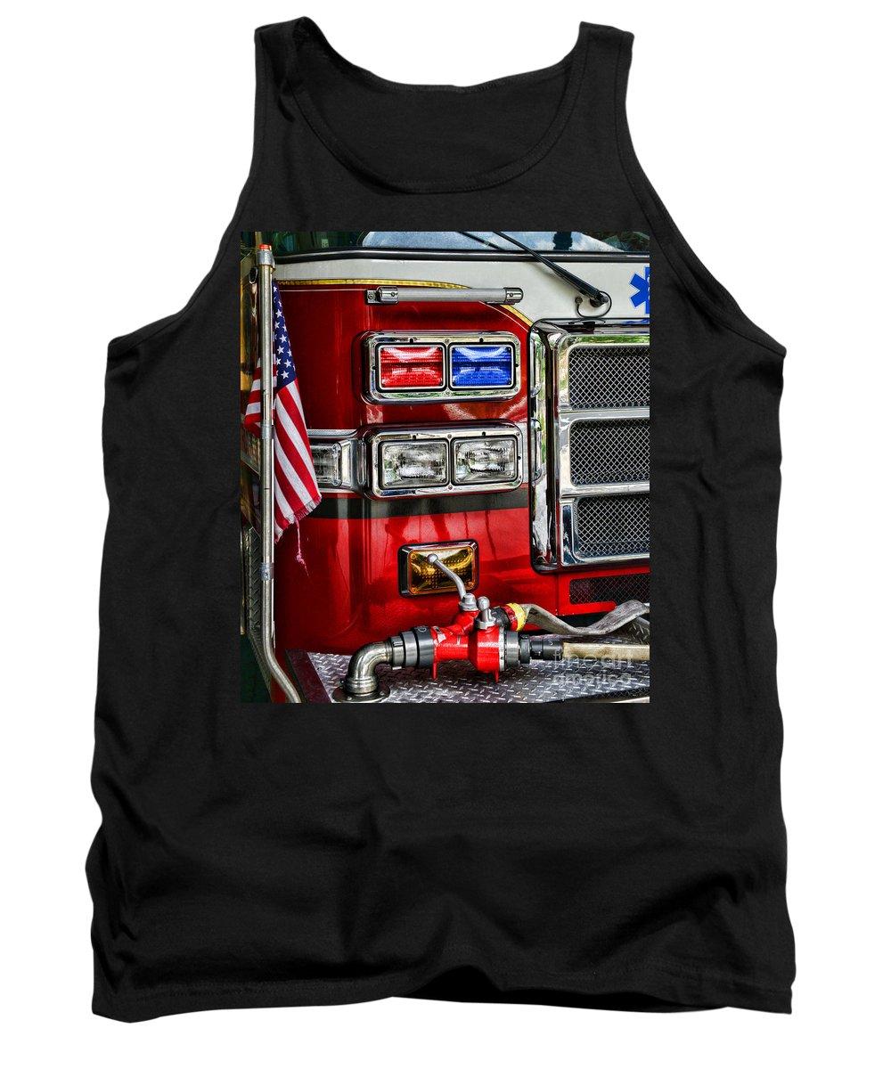 Fireman Tank Top featuring the photograph Fireman - Fire Engine by Paul Ward