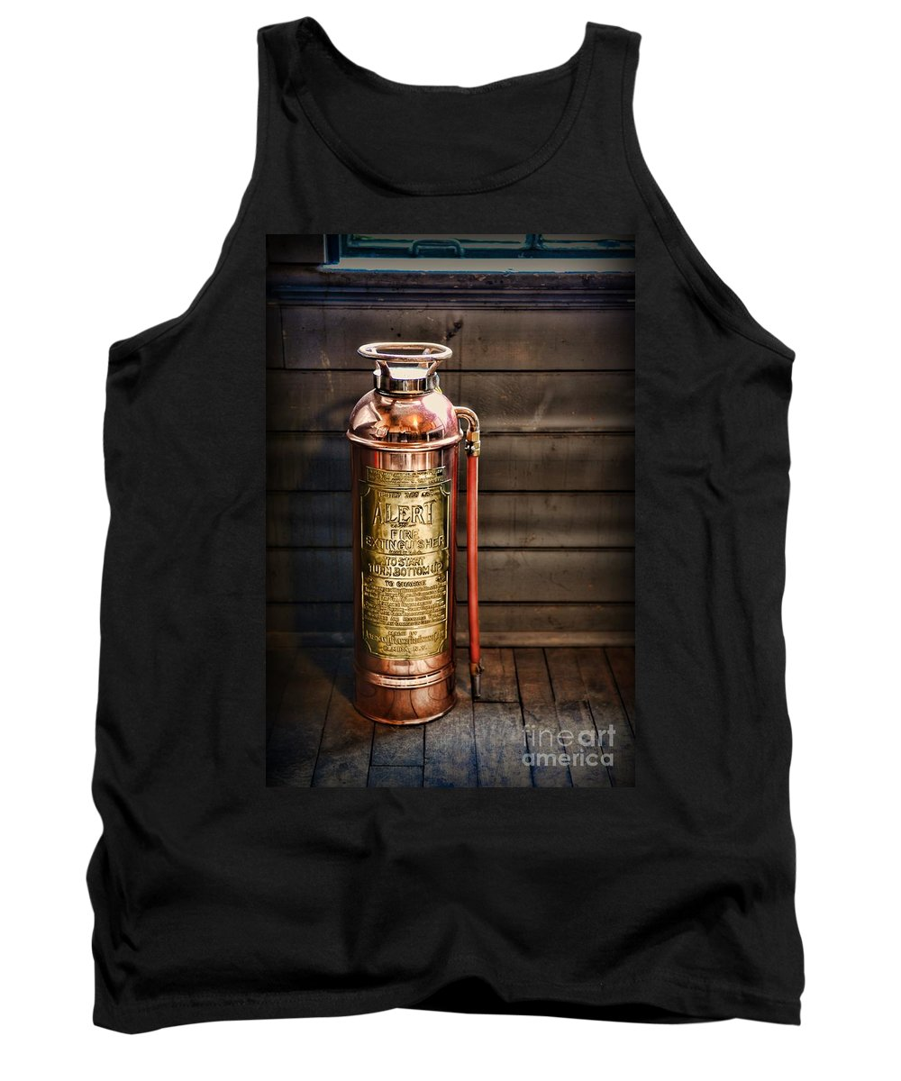 Paul Ward Tank Top featuring the photograph Fireman - Vintage Fire Extinguisher by Paul Ward