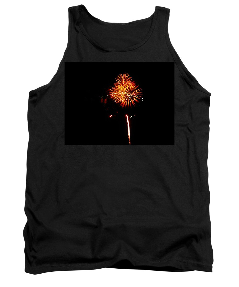 Mark Lemmon Cape Hatteras Nc The Outer Banks Photographer Subjects From Sunrise Tank Top featuring the photograph Fireworks 4th Of July Avon Pier Hatteras Island 3 by Mark Lemmon