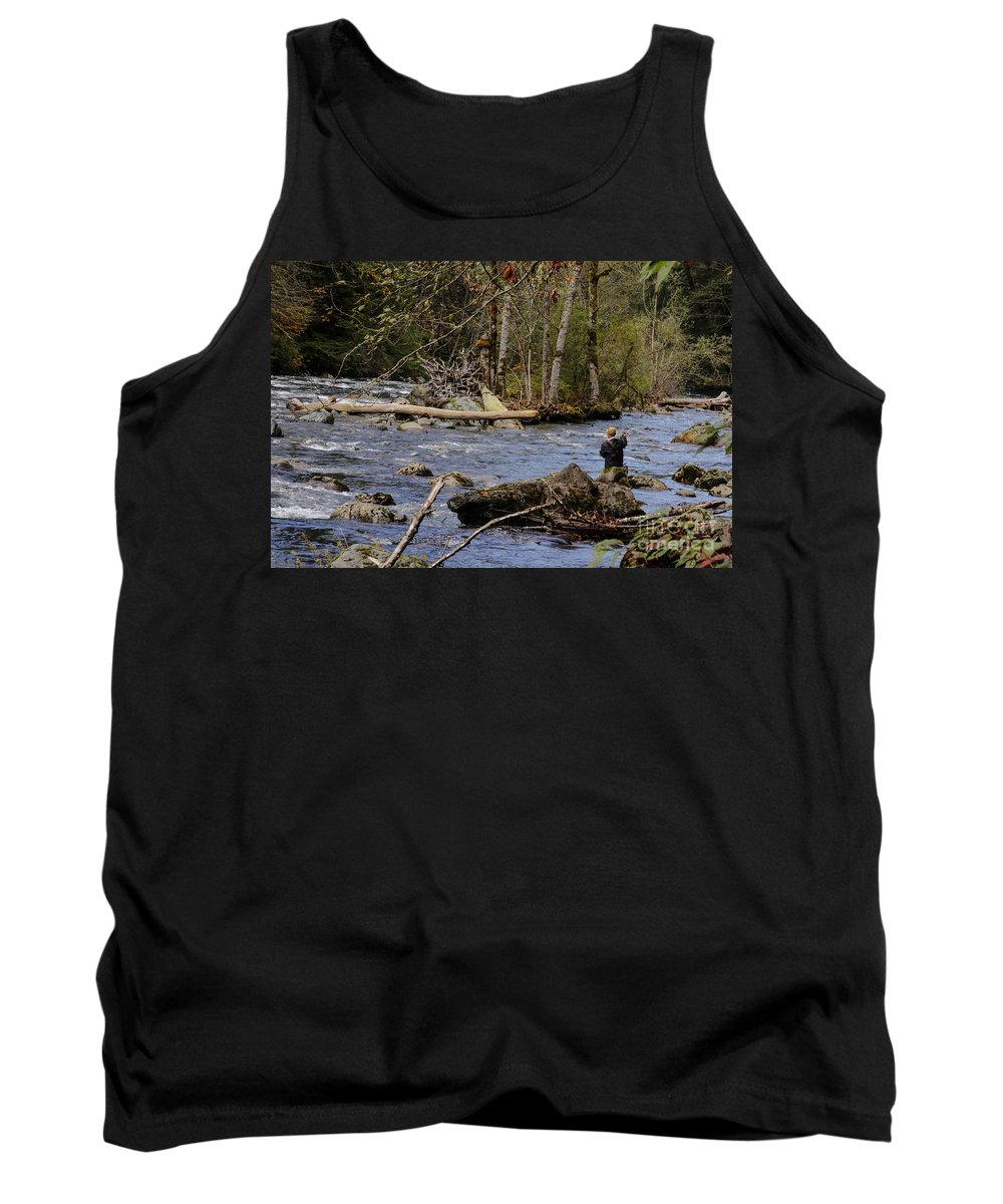 Landscape Tank Top featuring the photograph Fishing In Pacific Northwest by Darleen Stry