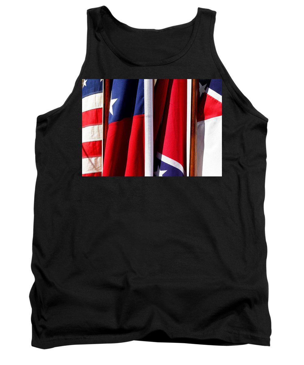 Flag Tank Top featuring the photograph Flags Of The North And South by Joe Kozlowski