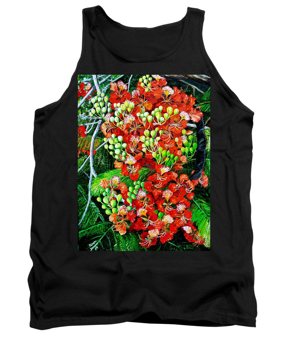 Royal Poincianna Painting Flamboyant Painting Tree Painting Botanical Tree Painting Flower Painting Floral Painting Bloom Flower Red Tree Tropical Paintinggreeting Card Painting Tank Top featuring the painting Flamboyant in Bloom by Karin Dawn Kelshall- Best