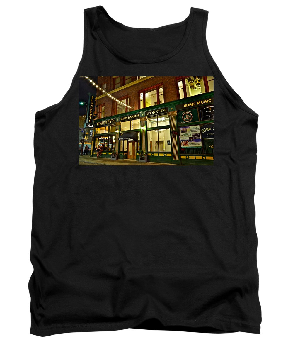 Spirits Tank Top featuring the photograph Flannerys Pub by Frozen in Time Fine Art Photography