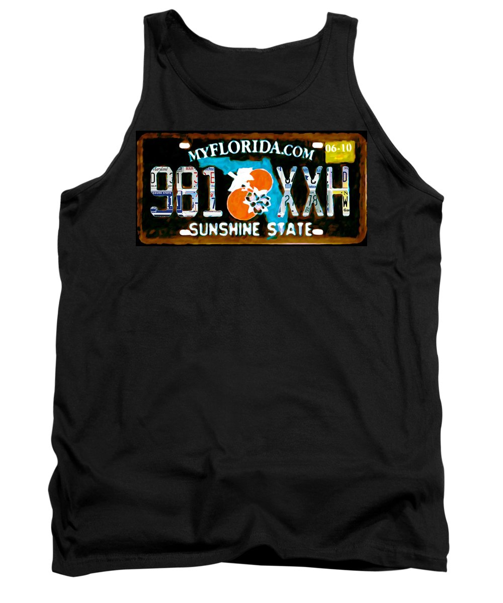 Florida License Plate Tank Top featuring the painting Florida License Plate by Jeelan Clark