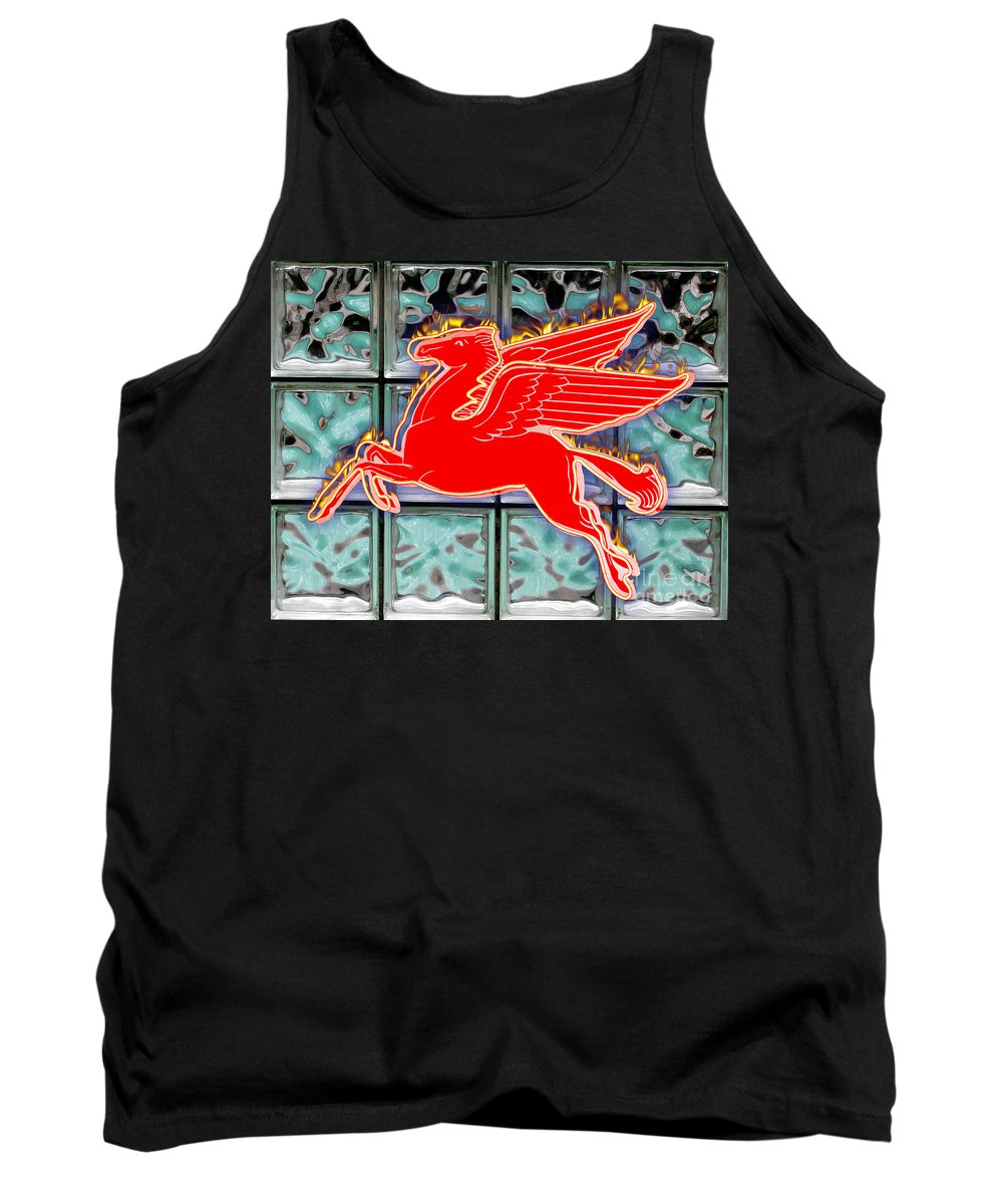 Red Tank Top featuring the digital art Flying Fire Horse by Keith Dillon