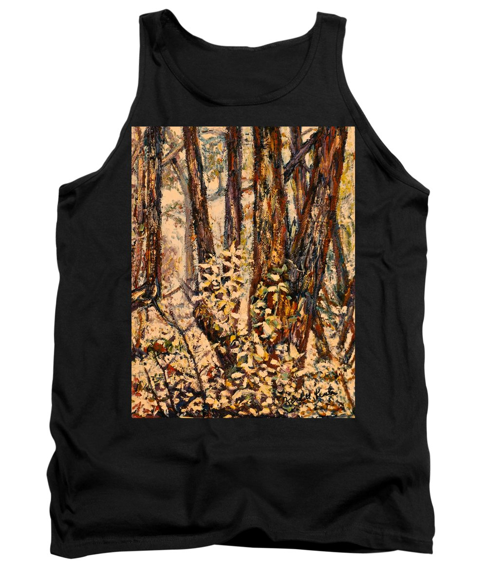Forest Tank Top featuring the painting Foggy Forest Edge by Kendall Kessler