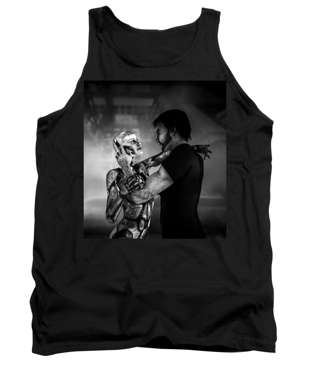 Android Tank Top featuring the digital art Forbidden Love Vanishing Memory Machine 2 by Bob Orsillo