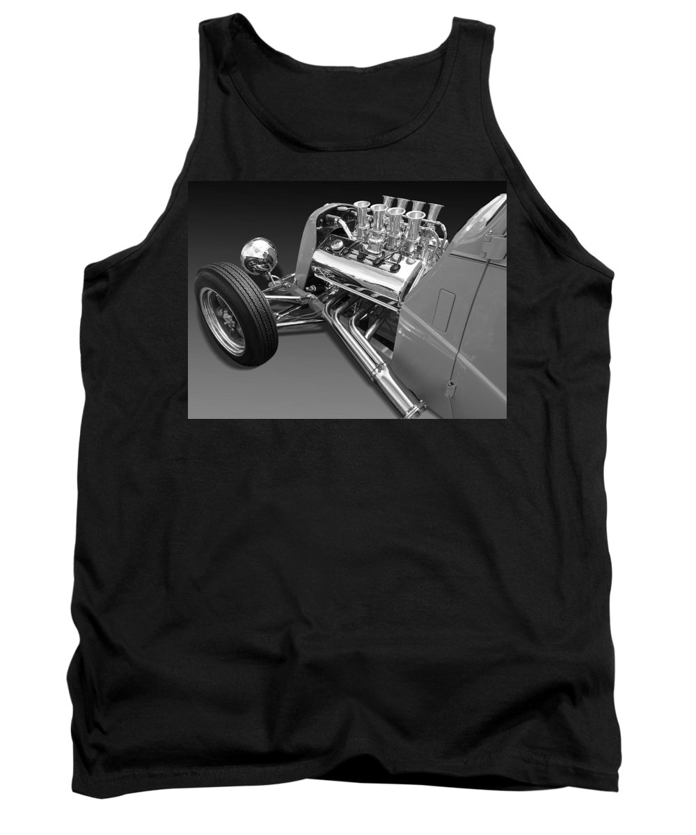 Hotrod Tank Top featuring the photograph Ford Coupe Hot Rod Engine In Black And White by Gill Billington