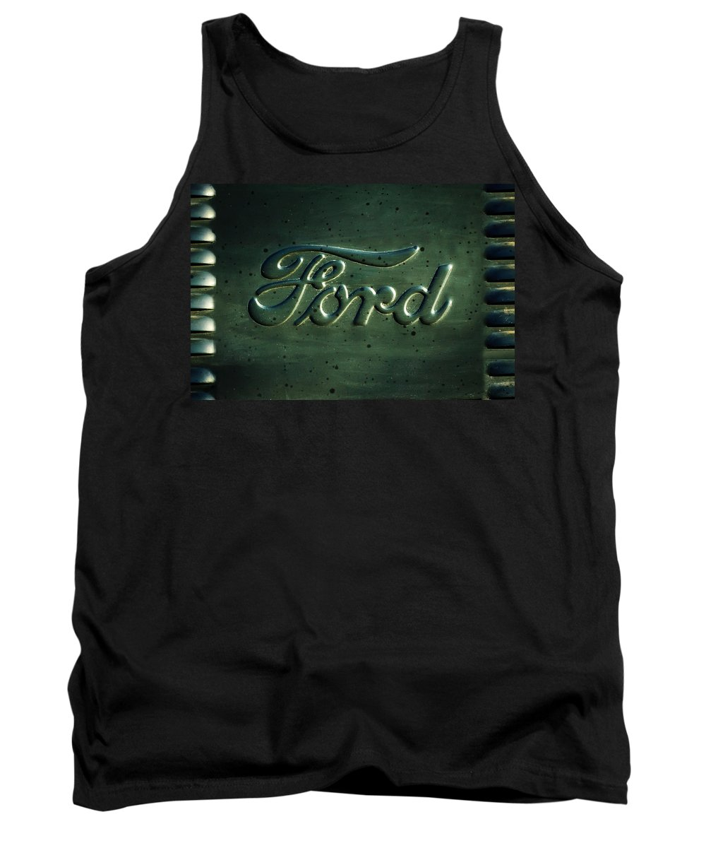 Ford Emblem Tank Top featuring the photograph Ford Emblem -0113c by Jill Reger