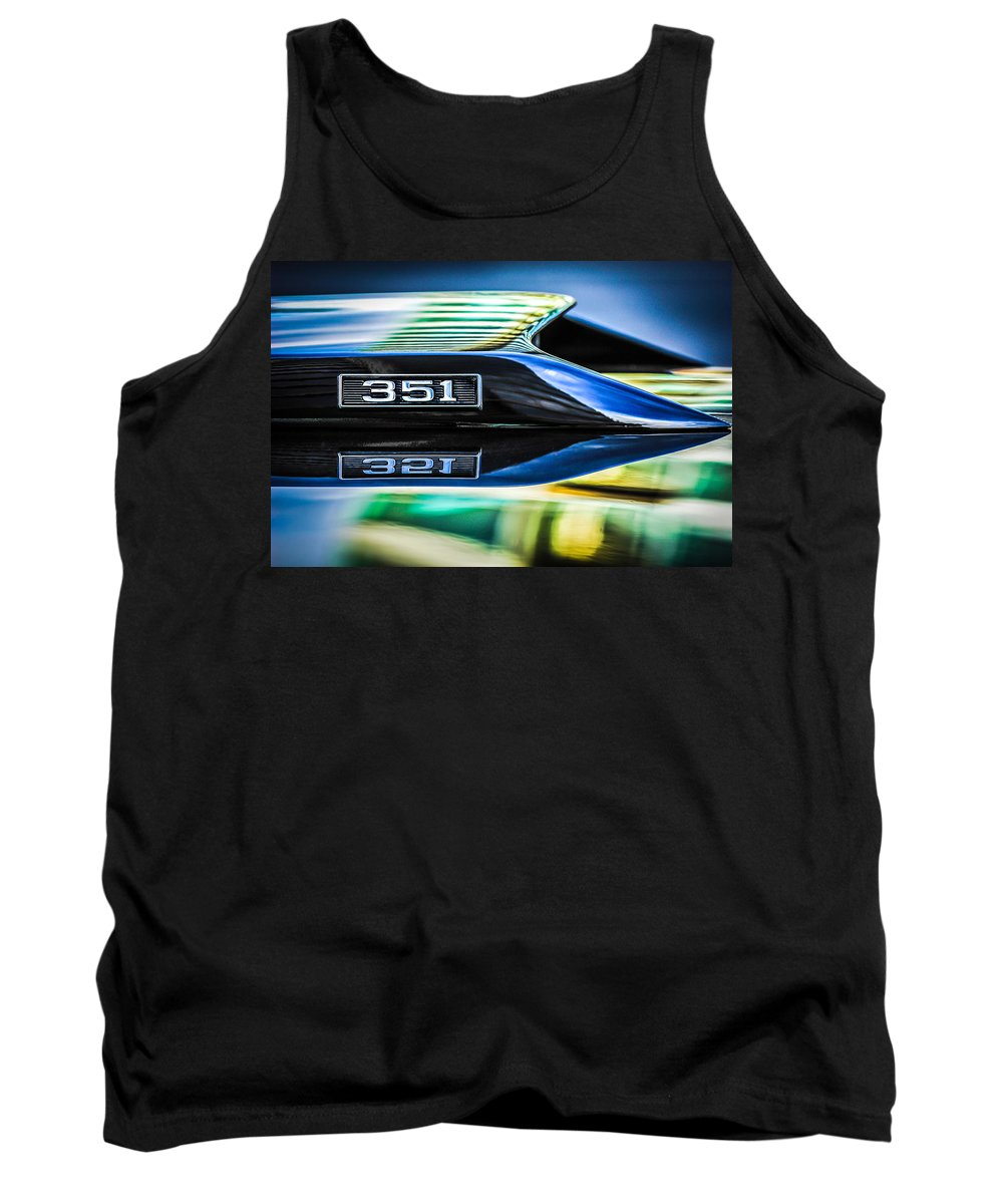 Ford Mustang 351 Engine Emblem Tank Top featuring the photograph Ford Mustang 351 Engine Emblem -1011c by Jill Reger