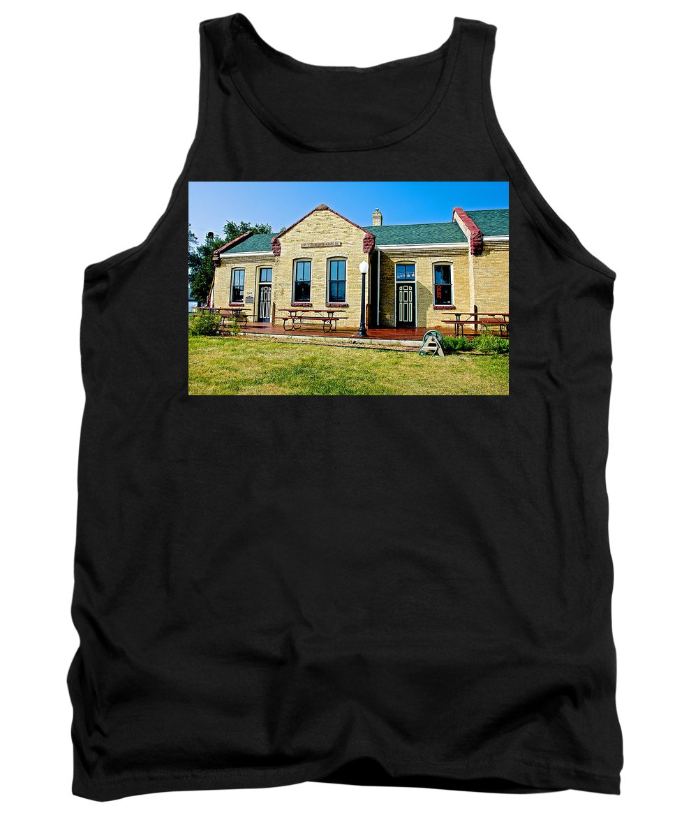 Former Rock Island Line Railroad Depot In Pipestone Tank Top featuring the photograph Former Rock Island Line Railroad Depot In Pipestone-minnesota by Ruth Hager