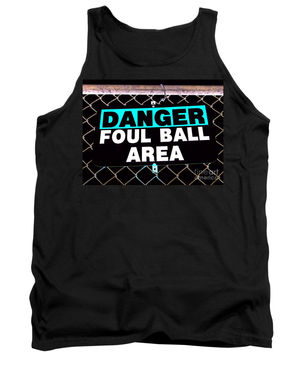 Signs Tank Top featuring the photograph Foul Ball Area by Ed Weidman