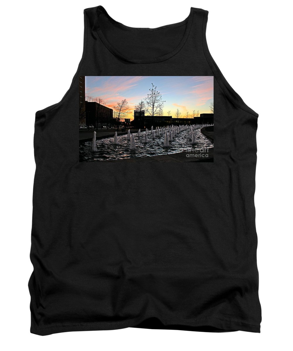 Tarrant County College Tank Top featuring the photograph Fountain At Trinity River Campus 1566m by Earl Johnson