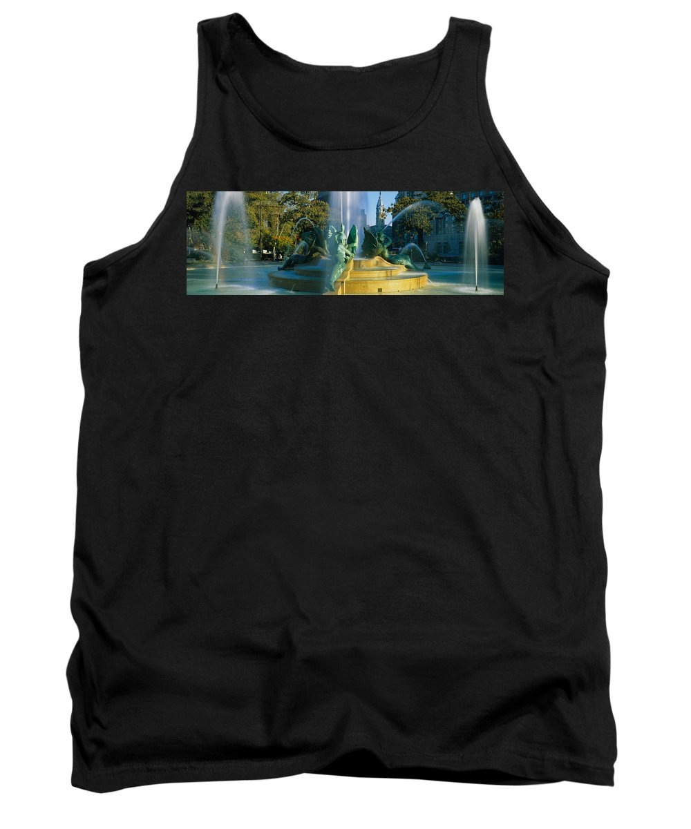 Photography Tank Top featuring the photograph Fountain In Front Of A Building, Logan by Panoramic Images