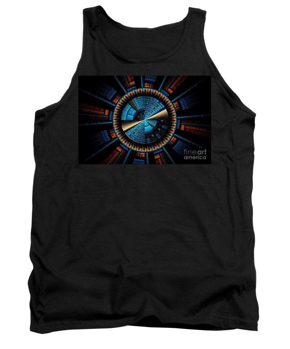 Fractal Tank Top featuring the digital art Fractal City by Sven Fauth
