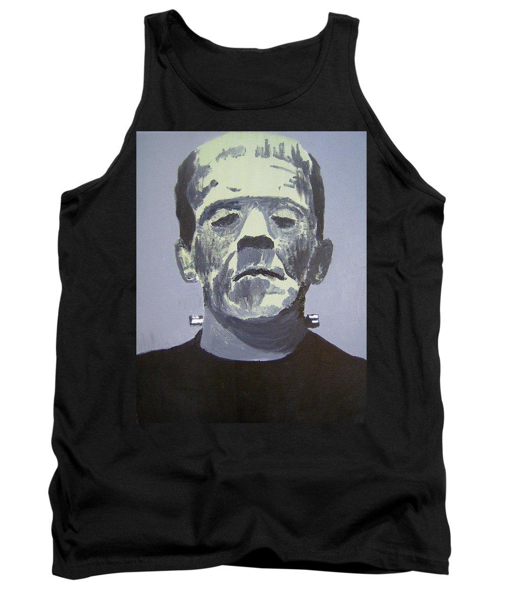 Frankenstein Monster Tank Top featuring the painting Frankenstein by Dan Twyman