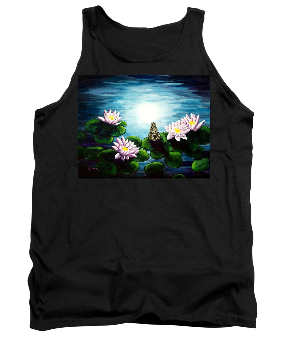 Frog Tank Top featuring the painting Frog In A Moonlit Pond by Laura Iverson