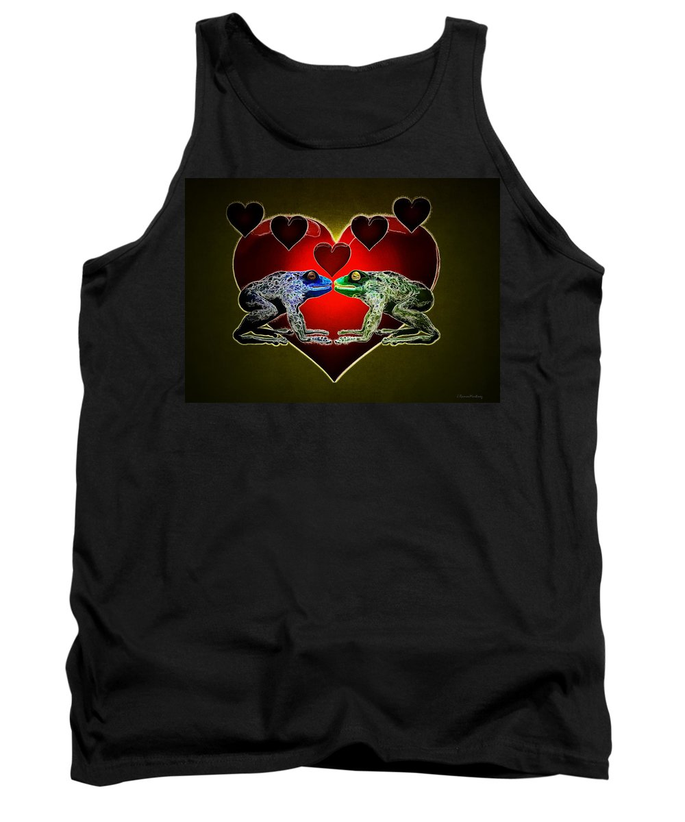 Frog Tank Top featuring the digital art Frogs In Love by Ramon Martinez