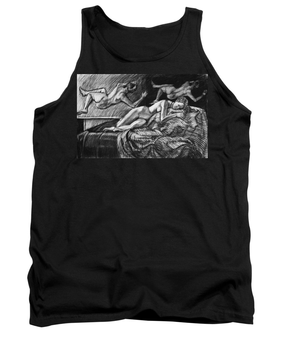 Figure Tank Top featuring the drawing From The Depths by Kenneth Cobb
