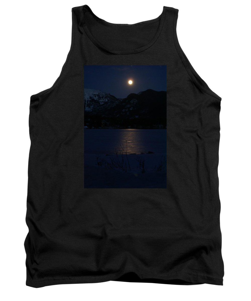 Full Moon Tank Top featuring the photograph Full Moon On Shadow Mountain Lake II by Jacqueline Russell