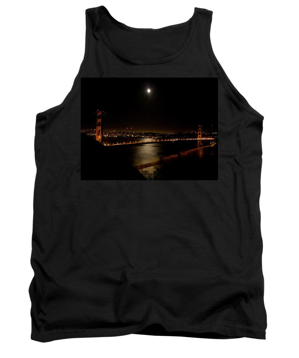 Golden Gate Bridge Tank Top featuring the photograph Full Moon Rising by Bill Gallagher
