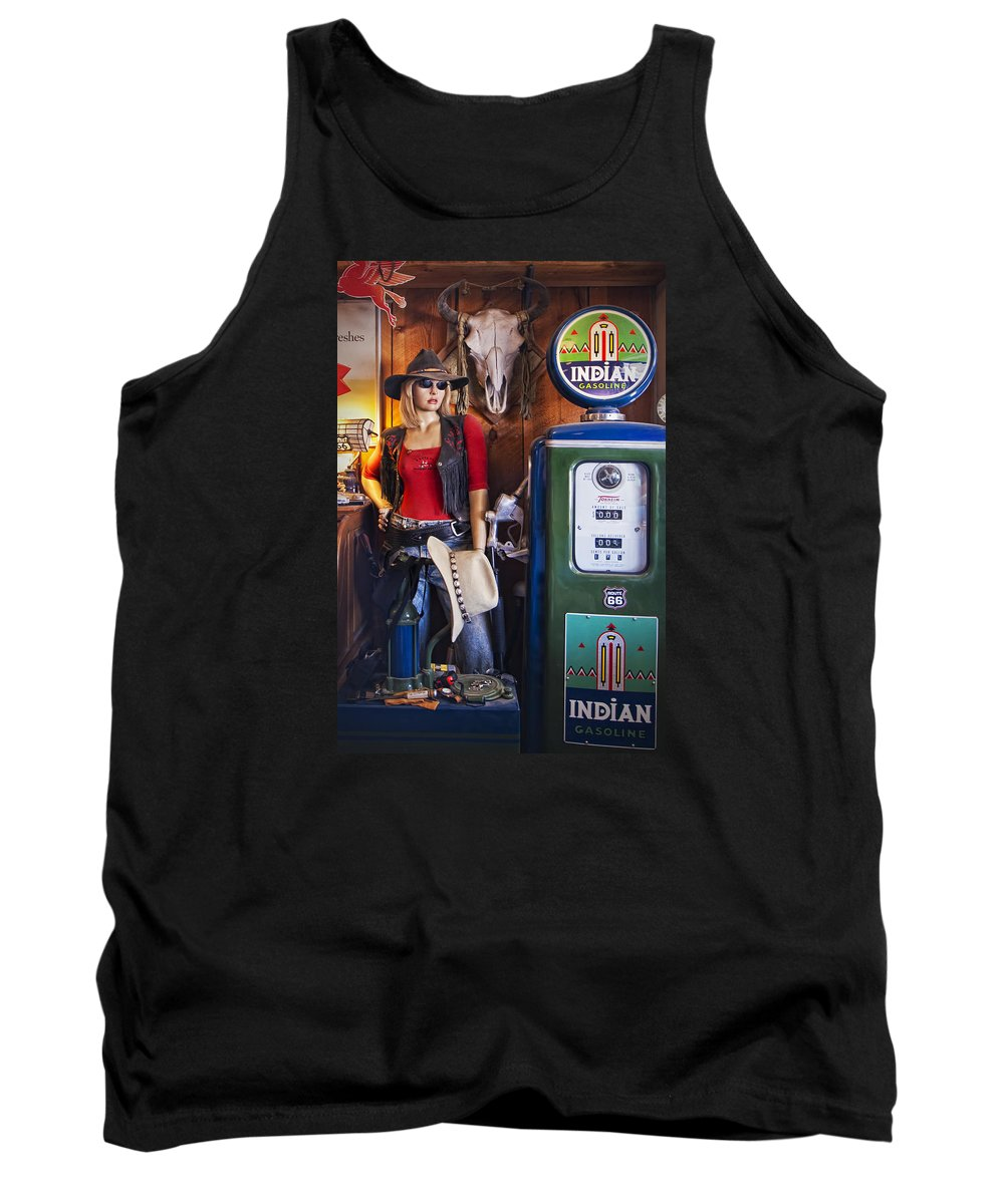 Hackberry General Store Tank Top featuring the photograph Full Service Route 66 Gas Station by Priscilla Burgers