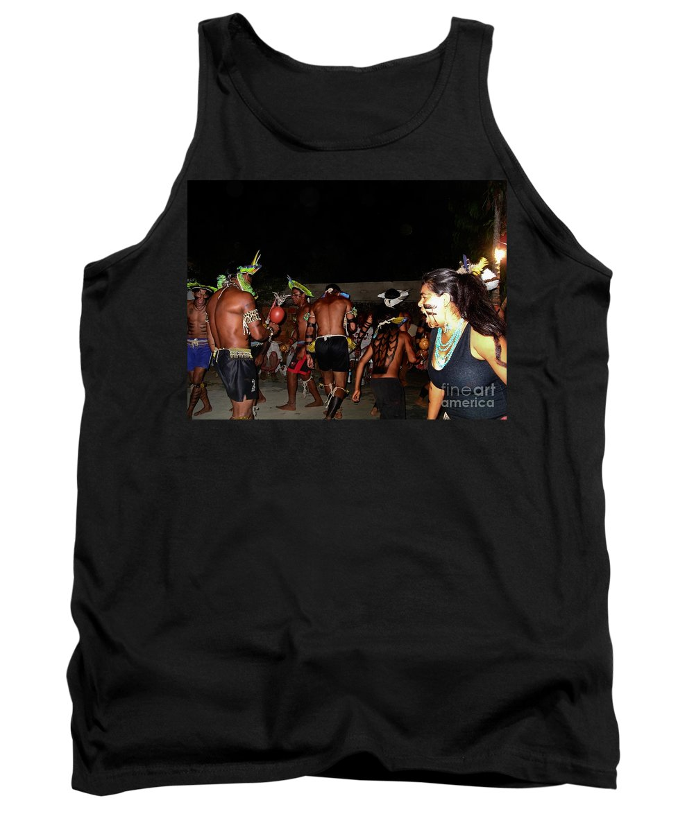 Abadiania Tank Top featuring the digital art Fulnio Indians Of Brazil by Carol Ailles