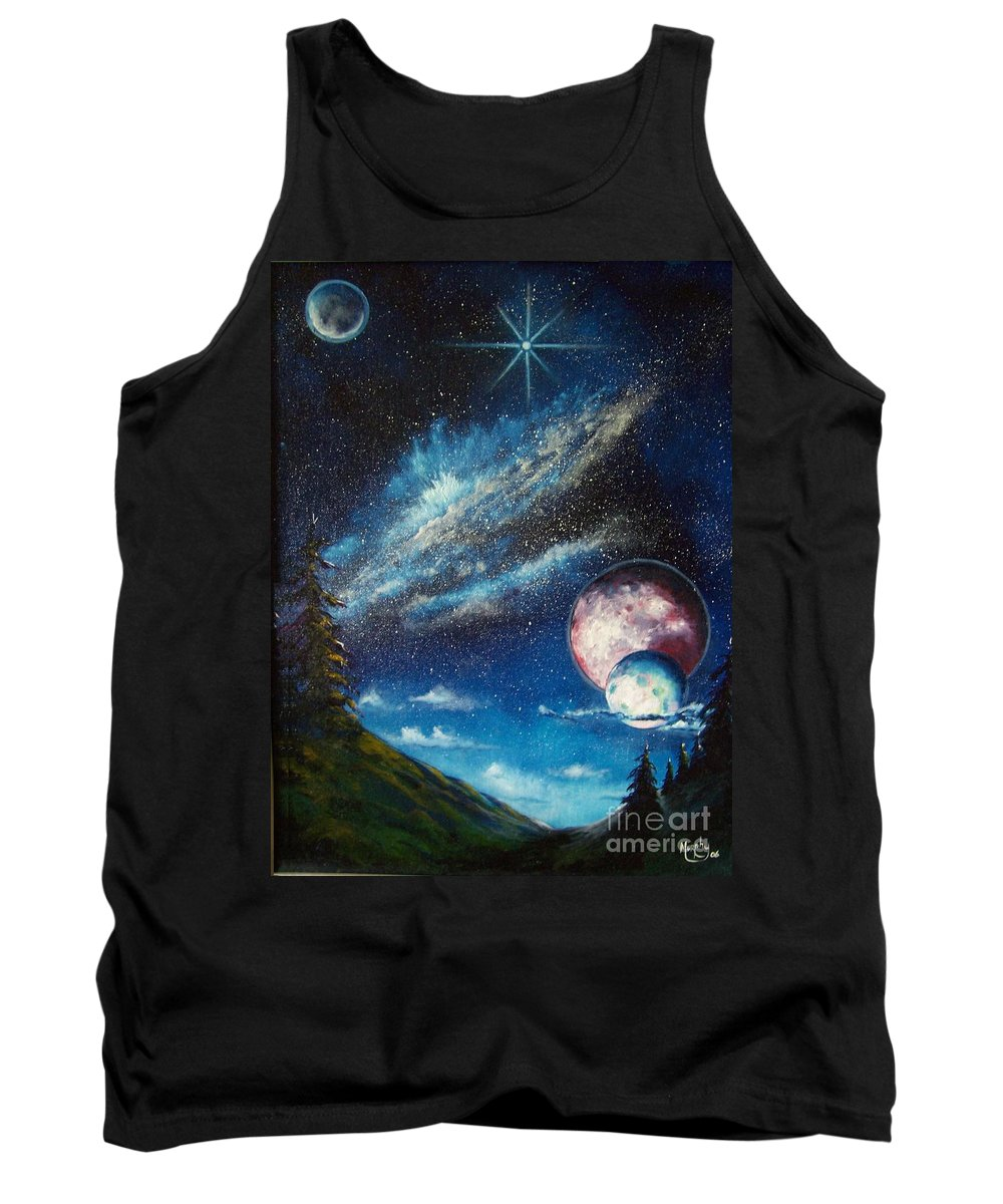 Space Horizon Tank Top featuring the painting Galatic Horizon by Murphy Elliott
