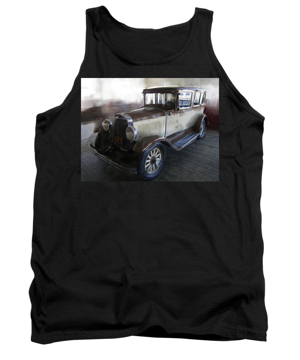 Packard Tank Top featuring the digital art Gansgter Era Automobile by Daniel Hagerman