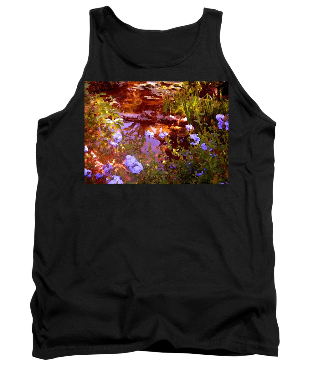 Landscapes Tank Top featuring the painting Garden Pond by Amy Vangsgard