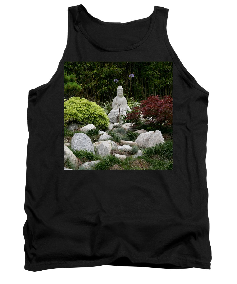 Statue Tank Top featuring the photograph Garden Statue by Art Block Collections